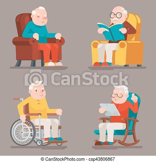 Nonno In Poltrona.Surfing Tela Vecchio Sedere Leggere Poltrona Carrozzella Icone Illustrazione Nonno Vettore Sonno Adulto Caratteri Disegno Set Cartone