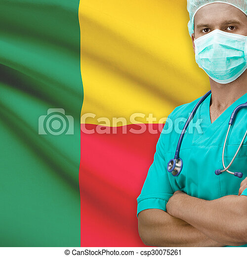 Surgeon with flag on background series - Benin - csp30075261