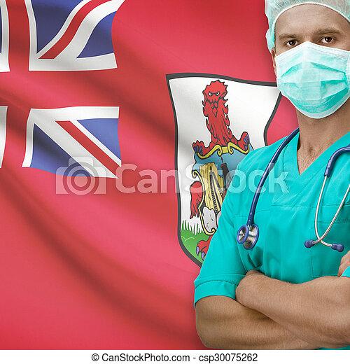Surgeon with flag on background series - Bermuda - csp30075262