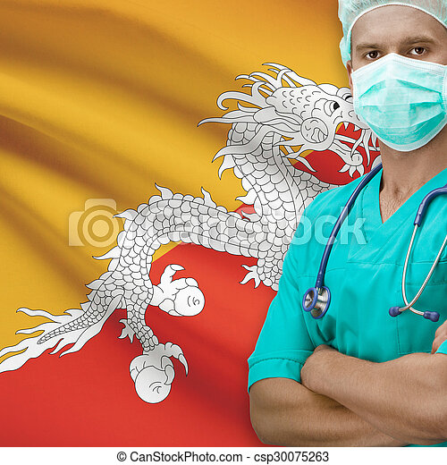 Surgeon with flag on background series - Bhutan - csp30075263