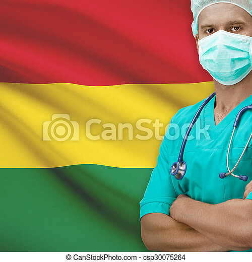 Surgeon with flag on background series - Bolivia - csp30075264
