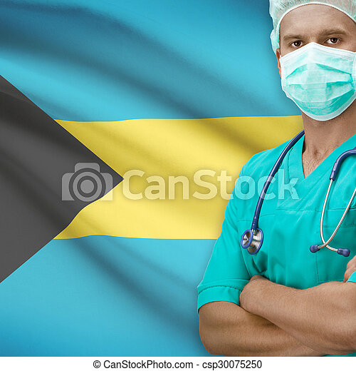 Surgeon with flag on background series - Bahamas - csp30075250