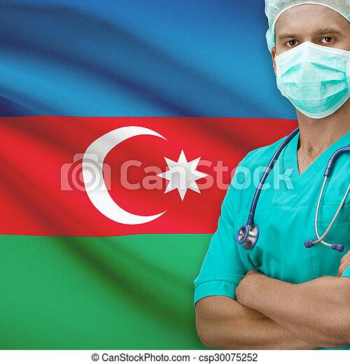Surgeon with flag on background series - Azerbaijan - csp30075252