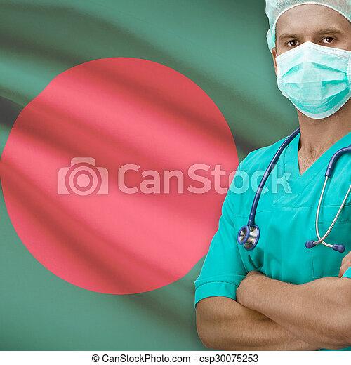 Surgeon with flag on background series - Bangladesh - csp30075253