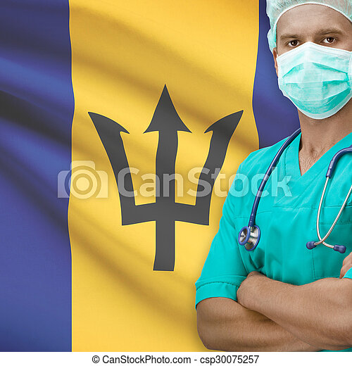 Surgeon with flag on background series - Barbados - csp30075257