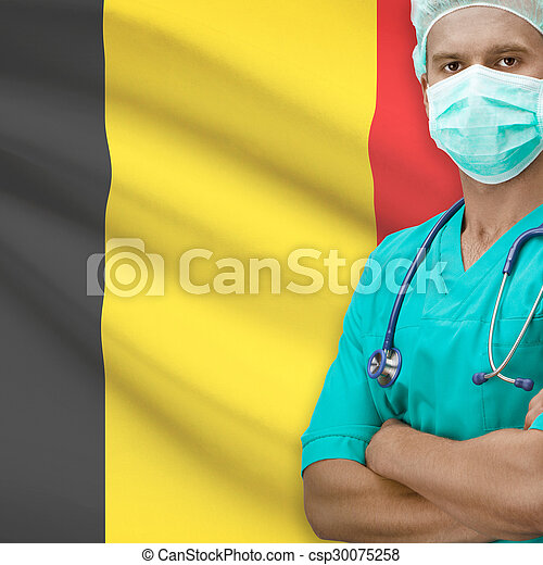 Surgeon with flag on background series - Belgium - csp30075258