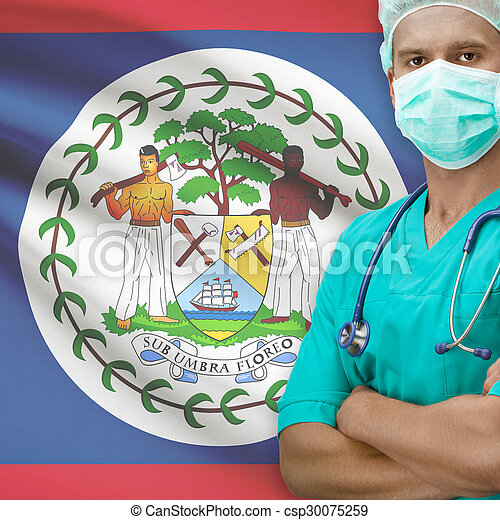 Surgeon with flag on background series - Belize - csp30075259