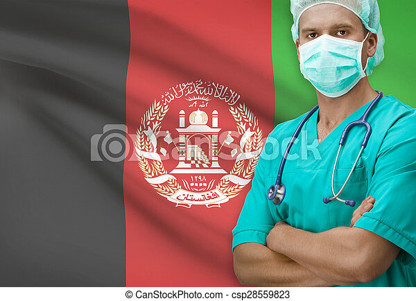 Surgeon with flag on background series - Afghanistan - csp28559823