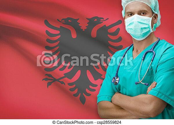 Surgeon with flag on background series - Albania - csp28559824