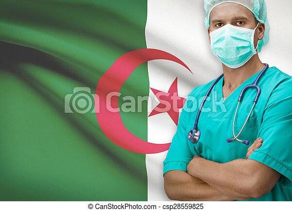 Surgeon with flag on background series - Algeria - csp28559825