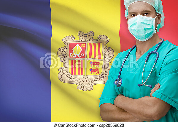 Surgeon with flag on background series - Andorra - csp28559828