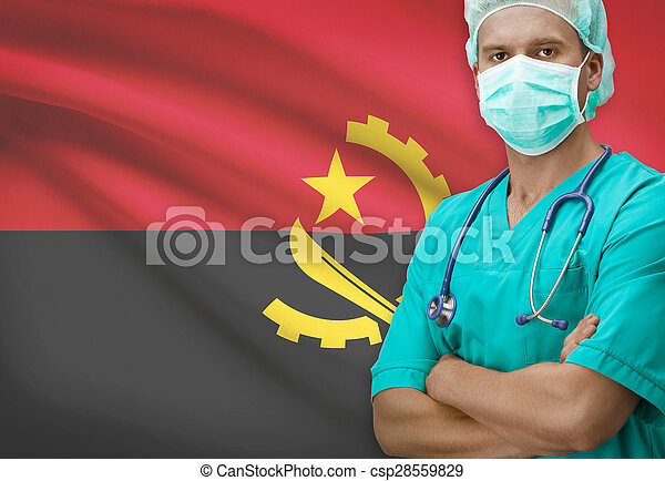 Surgeon with flag on background series - Angola - csp28559829