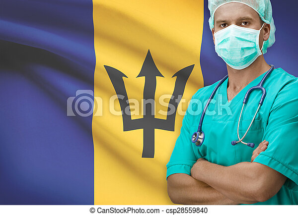 Surgeon with flag on background series - Barbados - csp28559840