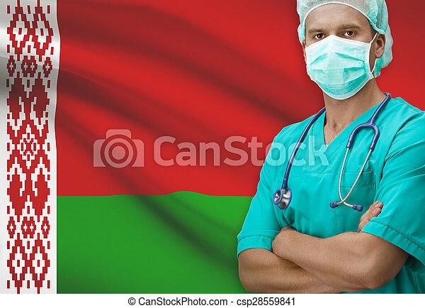Surgeon with flag on background series - Belarus - csp28559841
