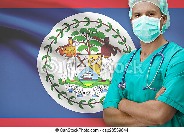 Surgeon with flag on background series - Belize - csp28559844