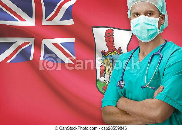 Surgeon with flag on background series - Bermuda - csp28559846