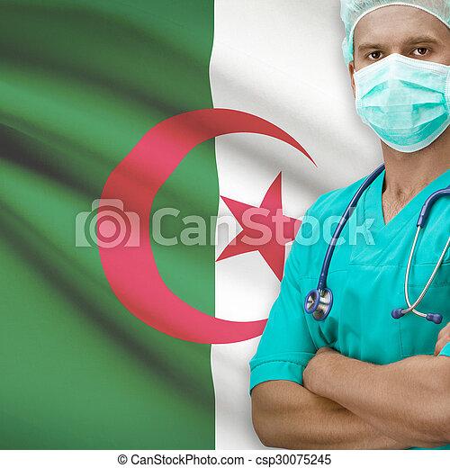Surgeon with flag on background series - Algeria - csp30075245
