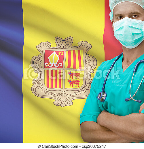 Surgeon with flag on background series - Andorra - csp30075247