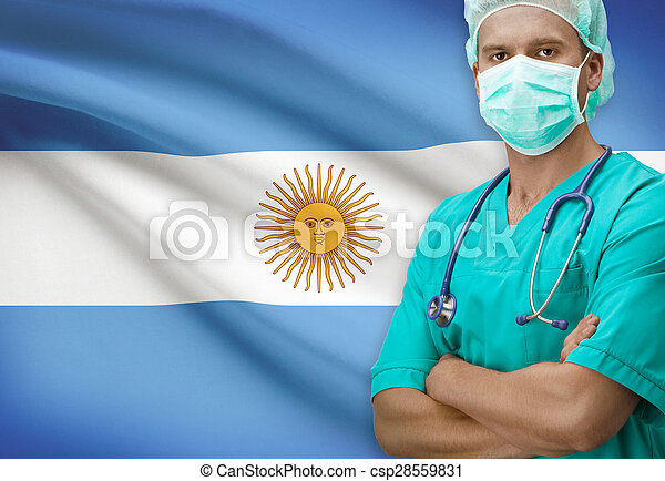 Surgeon with flag on background series - Argentina - csp28559831