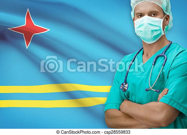 Surgeon with flag on background series - Aruba - csp28559833