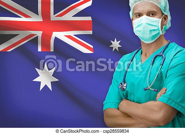 Surgeon with flag on background series - Australia - csp28559834