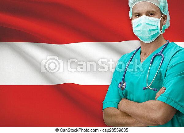 Surgeon with flag on background series - Austria - csp28559835
