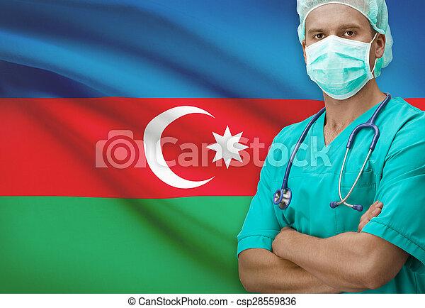 Surgeon with flag on background series - Azerbaijan - csp28559836