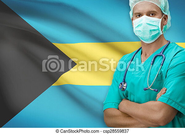 Surgeon with flag on background series - Bahamas - csp28559837