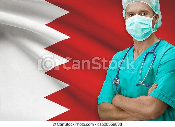 Surgeon with flag on background series - Bahrain - csp28559838