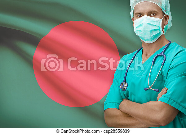 Surgeon with flag on background series - Bangladesh - csp28559839