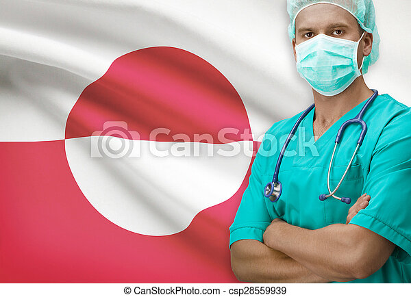 Surgeon with flag on background series - Greenland - csp28559939