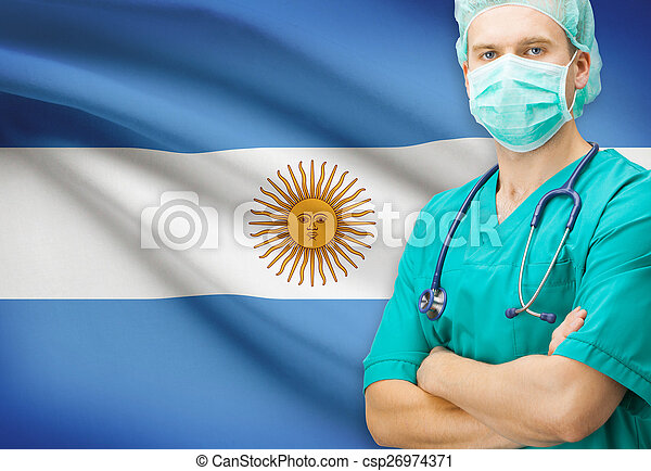 Surgeon with national flag on background series - Argentina - csp26974371