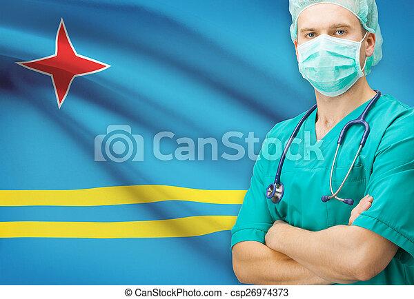 Surgeon with national flag on background series - Aruba - csp26974373