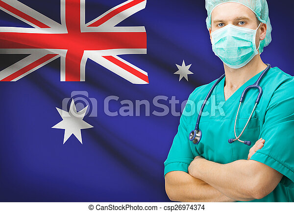 Surgeon with national flag on background series - Australia - csp26974374