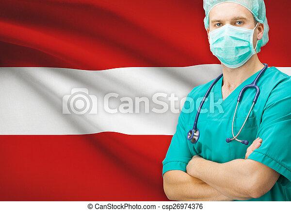 Surgeon with national flag on background series - Austria - csp26974376