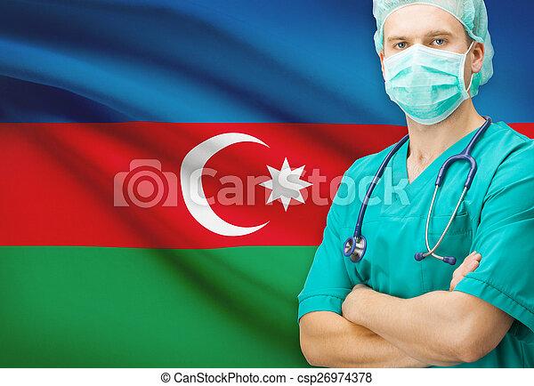 Surgeon with national flag on background series - Azerbaijan - csp26974378
