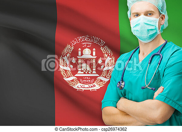 Surgeon with national flag on background series - Afghanistan - csp26974362