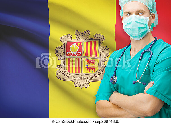 Surgeon with national flag on background series - Andorra - csp26974368