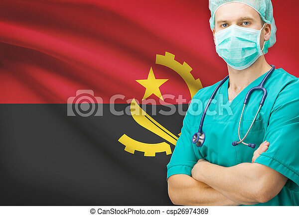 Surgeon with national flag on background series - Angola - csp26974369