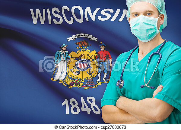 Surgeon with US state flag on background series - Wisconsin - csp27000673