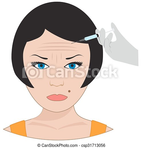 surgery of forehead wrinkles. - csp31713056