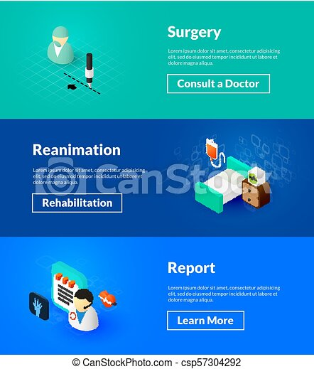 surgery reanimation and report banners drawing csp