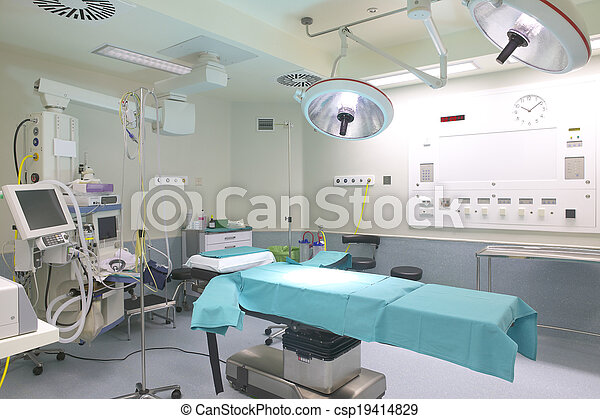 Surgery Room With Bed And Machinery Surgery Room With Bed An