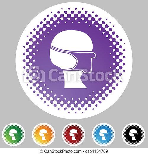 Surgical mask Halftone Icon Set - csp4154789