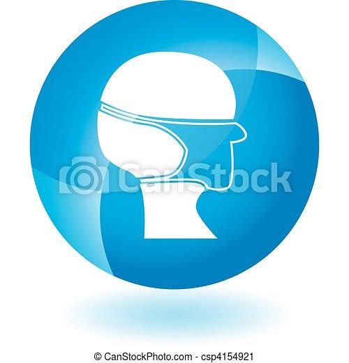 Surgical mask Transparent Blue Icon - csp4154921