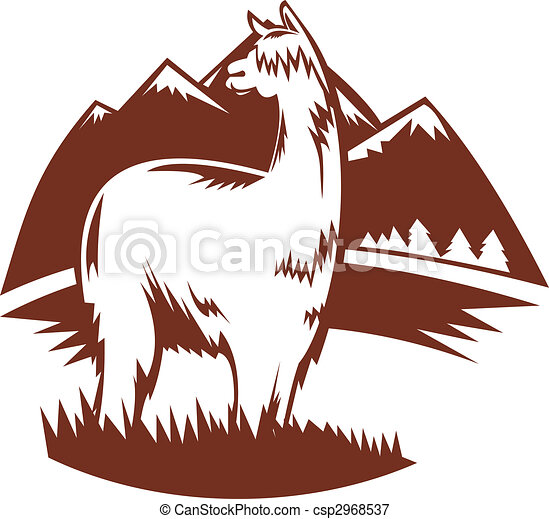 illustration of a suri alpaca with mountains in the stock rh canstockphoto com alpaca cartoon clipart suri alpaca clipart