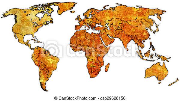 Surinam World Map.Surinam Territory On World Map Surinam Flag On Old Vintage World