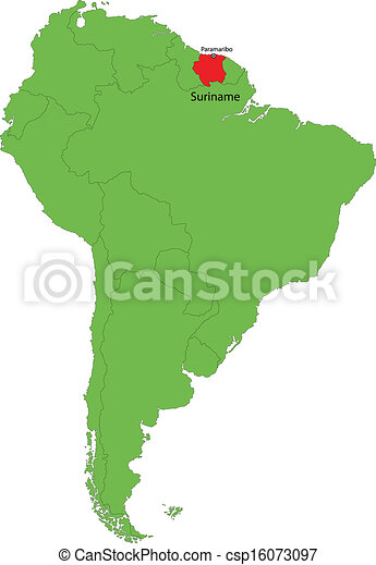 Suriname map Location of suriname on the south america