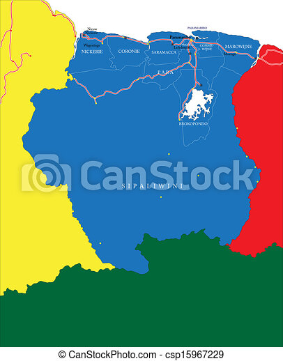 Suriname map Highly detailed vector map of suriname with vector