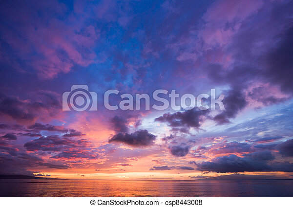 surprenant, coucher soleil, hawaï - csp8443008